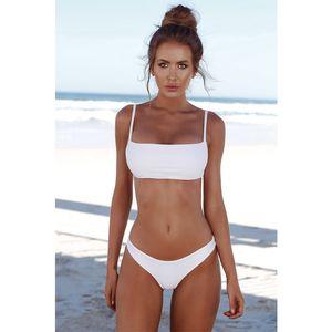 2021 New Summer Women Solid Bikini Set Push-up UnPadded Bra Swimsuit Swimwear Triangle Bather Suit Swimming plus size swimwear