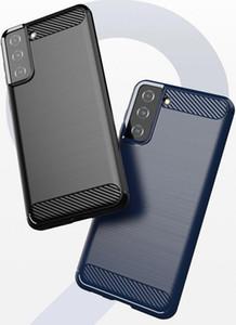 Karbon Fiber Solf TPU Kauçuk Telefon Kapak Kılıf Samsung S21 Artı S30 A12 A32 A02S A52 MOTO G9 Güç E7 2020