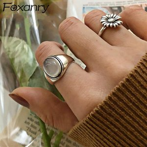 Foxanry 925 Sterling Silver Couples Rings for Women Trendy Vintage Handmade White Agate Elegant Wedding Party Jewelry Gifts1