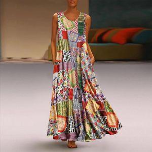 H40 Women Vintage Print Long Dress Floral Patch O Neck Sleeveless Casual Loose Maxi Dress Bohemian Summer Party Dresses Vestido