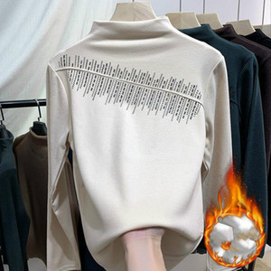 Winter Warm Women 2021 Soft Pullovers Long Sleeve Half Turtleneck Sweaters Autumn Elastic Slim Knitted Black Apricot Tops Y99