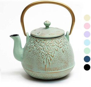TOPTIER Tea Kettle, Stovetop Safe Cast Iron Teapot with Infusers for Loose Tea, 22 oz, Light Green