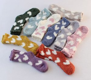 2021 Kawaii Winter Coral Velvet Warm Women Socks Plush Lovely Socks Heart Dot Pattern Carpet Ladies Socks