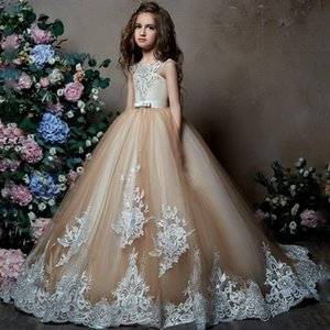 2020 New Cute Flower Girl Dresses For Weddings Ball Gown Tulle Appliques Lace Beaded Long First Communion Dresses Little Girl