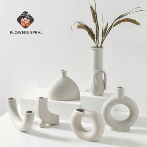 Home Decoration Vase Nordic Style Ceramic Vase And Flower Pot White SSmall Flower Pot Home Decoration Large Medium And Small Vas Q1125