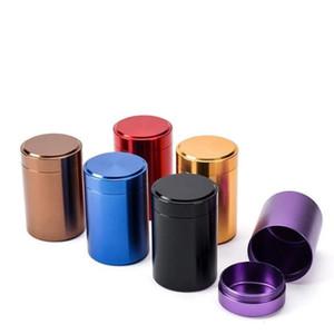 Mini Boîte à thé en aluminium Boîte à thé Petite cylindre Scellé Couleurs Portable Voyage Sacs à thé Scellé Tea Teab Conteneur Boîte de rangement DWB3490