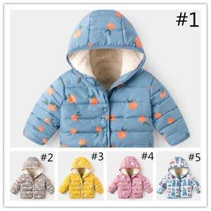 Quente dos desenhos animados impresso inverno bebê Crianças algodão acolchoado Jacket recém-nascido Moda Hoodies Casacos exterior à prova de vento Fleece Jackets Roupa LY111702