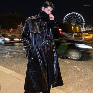 Glitter Erkek Trençkotlar Adam Patent Deri PU Ceket Erkekler Gevşek Giysi Kruvaze Palto Uzun Kollu Siyah Pembe B2481