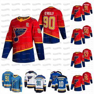 Ryan O'Reilly Capitán C Patch St. Louis Blues 2021 Retro Retro Jersey Vladimir Tarasenko Binnington Brayden Schenn Jaden Schwartz