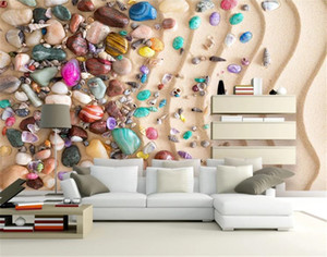 3d Beach Wallpaper Beach Sand Shell Stone 3D TV Sofa Background Wall Painting Wall paper