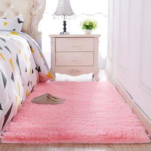 SHAGGY MAT Alfombra gruesa pluspa dormitorio princesa sala sofá lindo rosa europeo alfombra para el hogar absorción de agua alfombras de piso