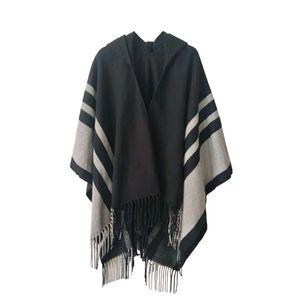Women Tassel Shawls Fashion Stripes Beige Gray Scarves Hooded Shawls Poncho Wraps for Winter Free Shipping