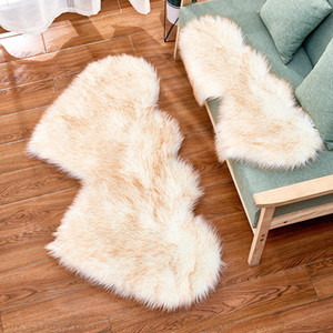 Love Plush Carpet Imitation Wool Velvet Double Love Heart Shaped Carpet Mat Sofa Cushion Pad CCD3008