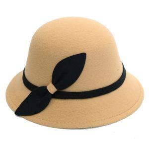 Luxury-Women wool Winter Hat Fashion Bowler Cap With Bowknot New style Personality floppy bucket Woolen Hat Cap Female #P35
