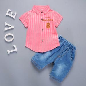 New Hot Summer Baby Boys Girls Clothes Infant Casual Suits Shirt Shorts 2Pcs Sets Gentleman Style Kids Lapel Children Tracksuit Q1203