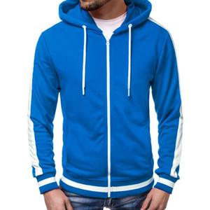 KANCOOLD Hoodies Men Autumn Long Sleeve Solid Zipper Patchwork Hoodie Hooded Sweatshirt Top Tee Outwear Blouse Streetwear Jun13