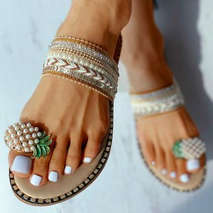 Women Pattern Toe Ring Flat Slipper Pineapple Pearl Bohemian Casual Shoes Beach Sandals Ladies Shoes Platform Sandalias Y200706