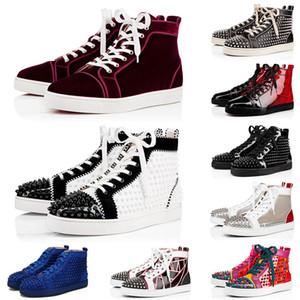 Luxurys homens mulheres mocassins vermelhos fundo de plataforma de luxo sapatos de luxo ChaussuresLouboutin Spikes Todas as sapatilhas de designer preto botas casuais