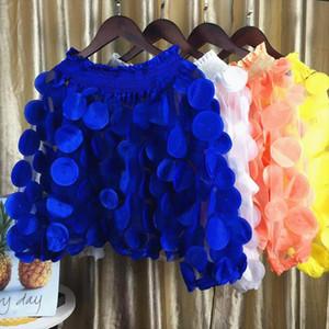 Sexy Slash Neck Tops Women 2020 New Korean Spring Puff Sleeves See Through Gauze Sweet Shirts Fashipn Appliques Female Blouse