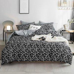 Установите хлопчатобумажные постельные принадлежности Цветочный узор для узоров кроватей Высококачественная простечка с наволочкой Пододеяльник Крышка Цветочные напечатанные наборы кровати
