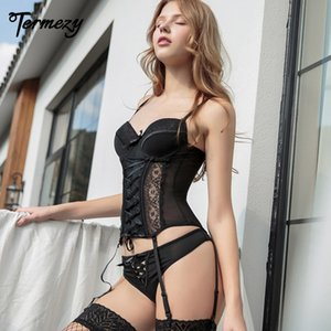 TERMEZY Amazing Sexy Corset Lace High Elasticity Bustier With Thong G String Set Breathable Fabric Lingerie Corset For Women Y1119