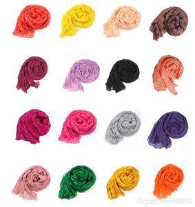 Women Scarfs Voile Solid Color Scarf Plicated Neckerchief Summer Neck Shawl Wrap Beach Head Scarves Stole Bandana HeadScarf Sarong DHB3070