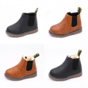 2443 Casual Boys Girls designer Splice Leather Shoes Soft Non-slip Kids Toddler Baby Shoes Warm Winter Little snow children's fashion bootCh