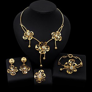 Yulaili Bridal Gift Nigerian Wedding African Beads Jewelry Sets for Woman Fashion Dubai Gold Color Necklace Earrings Jewelery Set Wholesale