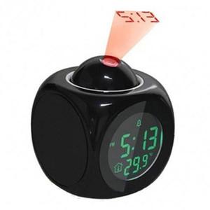 Nueva Moda Atención Proyección Digital Tiempo LED Snooze Reloj de alarma Proyector Pantalla de color LED de retroiluminación Temporizador BTZ1