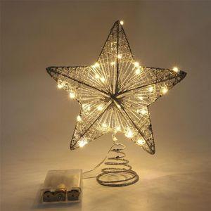 20cm Shiny Christmas Tree Top Star Christmas 2020 Star Light Tree Hanging Pentagram Pendant Ornament