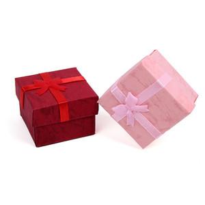 활 실크 리본 보석 상자 단순 정교한 반지 귀걸이 스터드 스퀘어 사각 종이 케이스 발렌타인 데이 선물 고품질 0 42BC L2