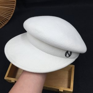 white cap female fashionable joker navy cap rocks in England about import wool beret
