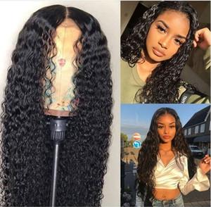 Dantel Ön İnsan Saç Peruk Siyah Kadınlar Için Derin Dalga Kıvırcık HD Frontal Bob Peruk Brezilyalı Afro Kısa Uzun 30 Inç Su Peruk Tam