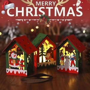 Led Light Wood House Christmas Tree Decoration Elk Santa Clause Snowman Hanging Ornaments Navidad Fairy Light Christmas Gift