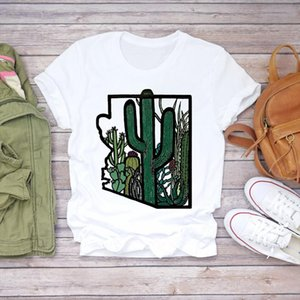 Women T shirts Cartoon Plant Cactus Desert Summer Autumn 90s Womens Graphic T Top Ladies Print Lady Shirt Female Tee Shirt