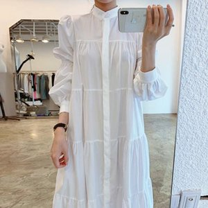LY VAREY LIN Spring Autumn Women Fashion Single Breasted Dresses Office Lady Long Sleeve Solid Loose White Shirt Maxi Dress