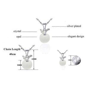 Фабрика Price Price Cute White Red Apple Ожерелья Подвески Новые для Женщин Девушки Кристалл и Опал Ожерелье Мода Любовь