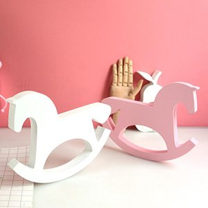 Handmade Wooden White Horse Figurines Miniatures Kids Cute Animal Trojan Toy Nursery Decor Children Girl Room Decorations