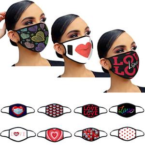 Adult Face Masks Valentines Day Regalo Cotton Dust Amore Stampe Stampe Donne Donne Coppia Respiratore Lavabile Rreusable Maschere per feste