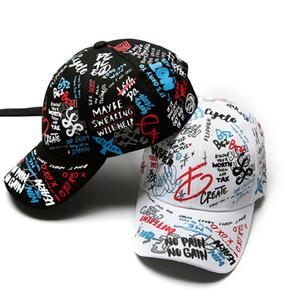 Graffiti primavera impresión gorra de béisbol niño padre sombrero largo cola hip-hop sombrero al por mayor gorra