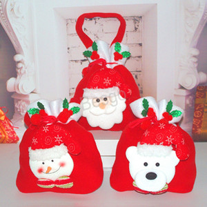 Christmas Candy Gift Handbag Santa Claus Drawstring Gift Bags Xmas Decoration Kids Snowman Bear Candy Storage Bags Festival Party BH1582 TQQ