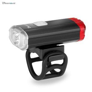 Deemount Headlight Rear Light 2 in 1 Cycling Front Lighting Rear Visual Warning 15 Light Modes USB Charge Helmet Handlebar Mount Z1204