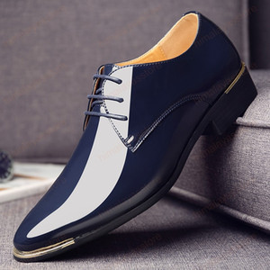 Men Luxury Dress Shoes Patent Leather Oxford Mens Shoes Italy White Derby Formal Male Flats Drop Shipping Plus Size