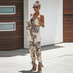 New Women Lace Up Summer Autumn Jumpsuit Sexy Fashion Print Jumpsuit Female Trend Solid Streetwear Drop Shipping