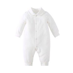 Pureborborn Newborn Romber Комбинезон сплошной белый крещение девочка одежда жаккардовые хлопчатобумажные детские одежды с Peter Pan Woll 201027