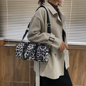 Leopard print personality shoulder bag cylindrical lady's handbag suede diagonal span bag Round shoulder Bag for women