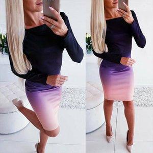 Female Office lady Elegant Dress Womens New Long Sleeve Ladies Stretch Bodycon Plain Dress Long Tunic Gradient Dresses OL Cloth