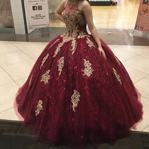 Burgundy Sparkly Sequins Quinceanera Dress Gold Lace Sweet 16 Ages Prom Party Dresses Pageant Gown Plus Size