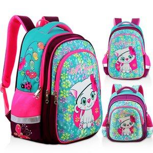 Nueva mochila de niña ortopédica para la escuela 3D Dibujos animados Cat Girls EVA Bolsos de la escuela Niños Escuela primaria Grado 1-5 Bolso para niños 201029