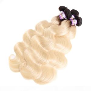 10A grade 1B 613 Ombre Blonde Hair Bundles With Frontal Peruvian Virgin Body wave Hair 3 Bundles